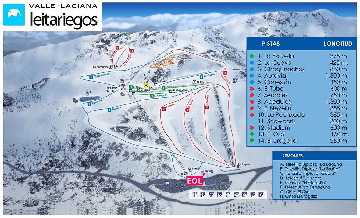 Mapa de pistas en Leitariegos León