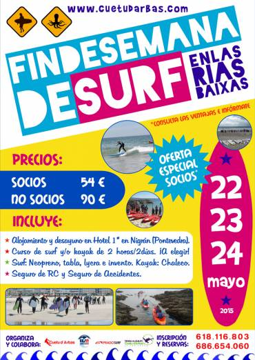 SURF y KAYAK en las Rías Baixas,